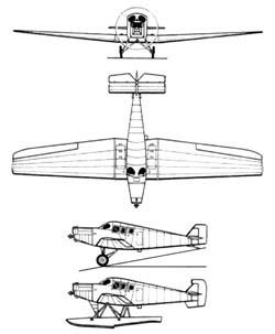 Junkers F-13. Схема